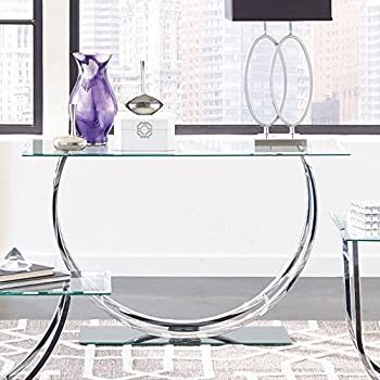 Delightful Coaster Glass Top Console Table In Chrome