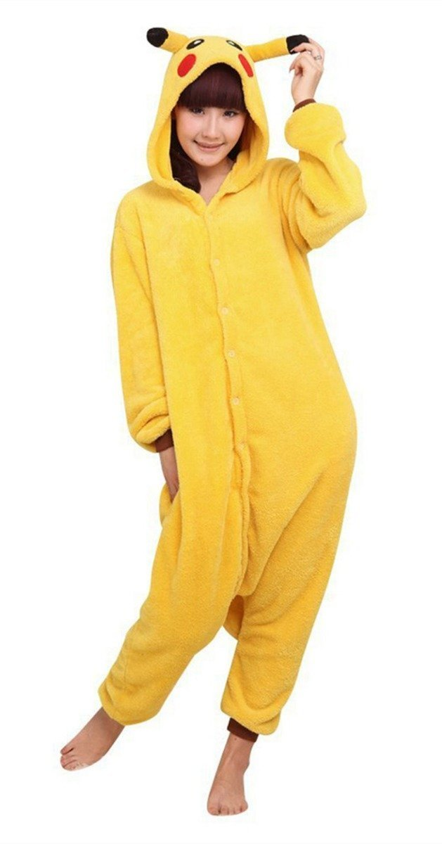Amazon.com: LYLAS Anime Pajamas Pikachu Pokemon Kigurumi Cartoon Hoodie Cosplay Costume: Clothing