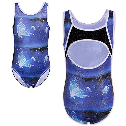 TFJH One-piece Sparkle Dancing Gymnastics Athletic Leotard for Little Girl Blue 10A