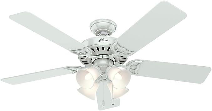 Hunter Studio Series ventilador de techo con varilla blanca o montaje empotrado de 52 pulgadas con kit de luz: Amazon.es: Hogar