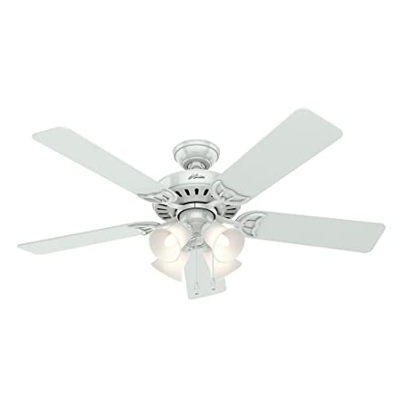 Hunter 53062 Studio Series 52-Inch Ceiling Fan with Five White Bleached Oak Blades and Light Kit, White