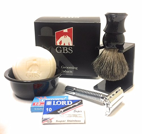 GBS Men's Vintage Shaving and Beard Grooming Set - Ceramic Black Bowl Butterfly Safety Razor, Pure Badger Brush, Drip Stand Brush Holder, GBS Natural Shave Soap + Blades Best Economic Wet Shaving Kit