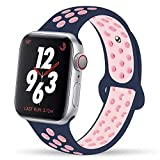 YC YANCH Greatou Compatible for Apple Watch Band 42mm,Soft Silicone Sport Band Replacement Wrist Strap Compatible for iWatch Apple Watch Series 3/2/1,Nike+,Sport,Edition,M/L,Lightpink Midnightblue
