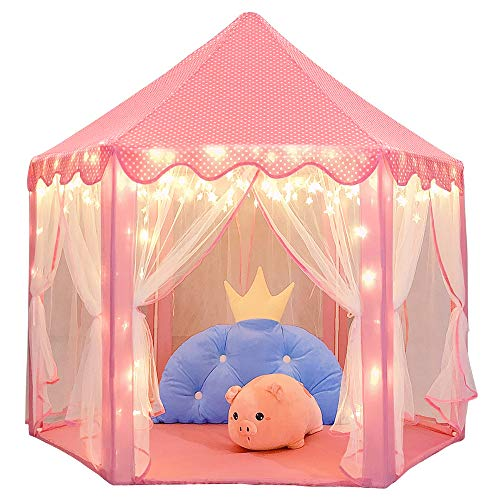 Wilwolfer Princess Castle Play Tent Large Kids Play House with Star Lights Girls Pink Play Tents Toy for Indoor & Outdoor Games (Best Bed For 5 Year Old)