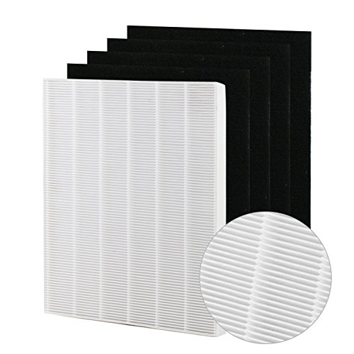 FilledwithLove Winix 115115 Premium True HEPA Plus 4 Carbon Filters for Winix PlasmaWave air Purifier WAC5300,WAC5500,WAC6300, 5300, 5500, 6300, 9000, WAC9500, 5300-2, 6300-2, P300, C535, Size 21
