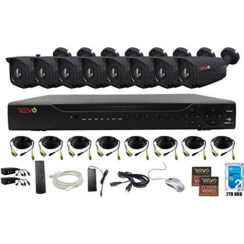 Revo America AeroHD 16Ch. 5MP DVR, 2TB HDD Video Security System, 8 x 5 MP IR Bullet Cameras Indoor/Outdoor - Remote Access via Smart Phone, Tablet, PC & MAC -  RA163B8I-2T
