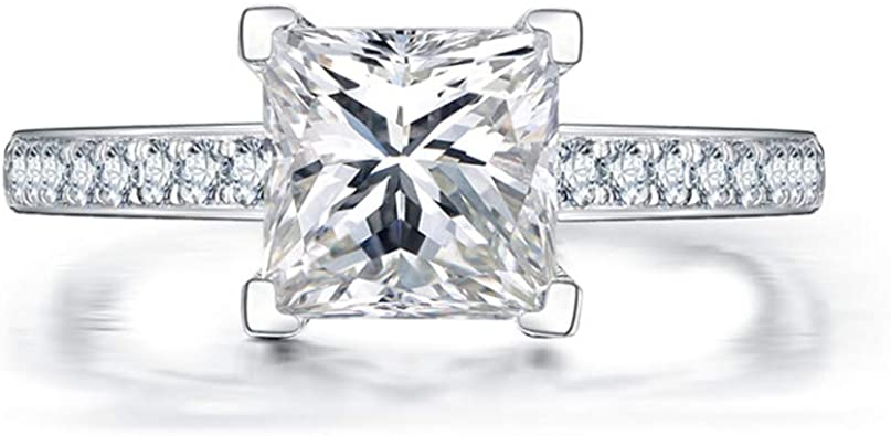 Princess 1.25 Ct Diamond Engagement White Gold Finish Sterling Silver Ring 4.5