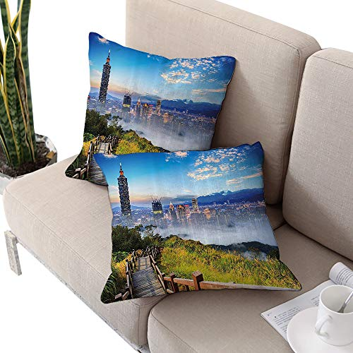 Alexandear Scenery Decor Square Travel Pillowcase,Beautiful Scenery of a City Cosmopolitan Life and Nature with Bridge Print Multicolor W14 xL14 2pcs Cushion Cases Pillowcases for Sofa Bedroom Car