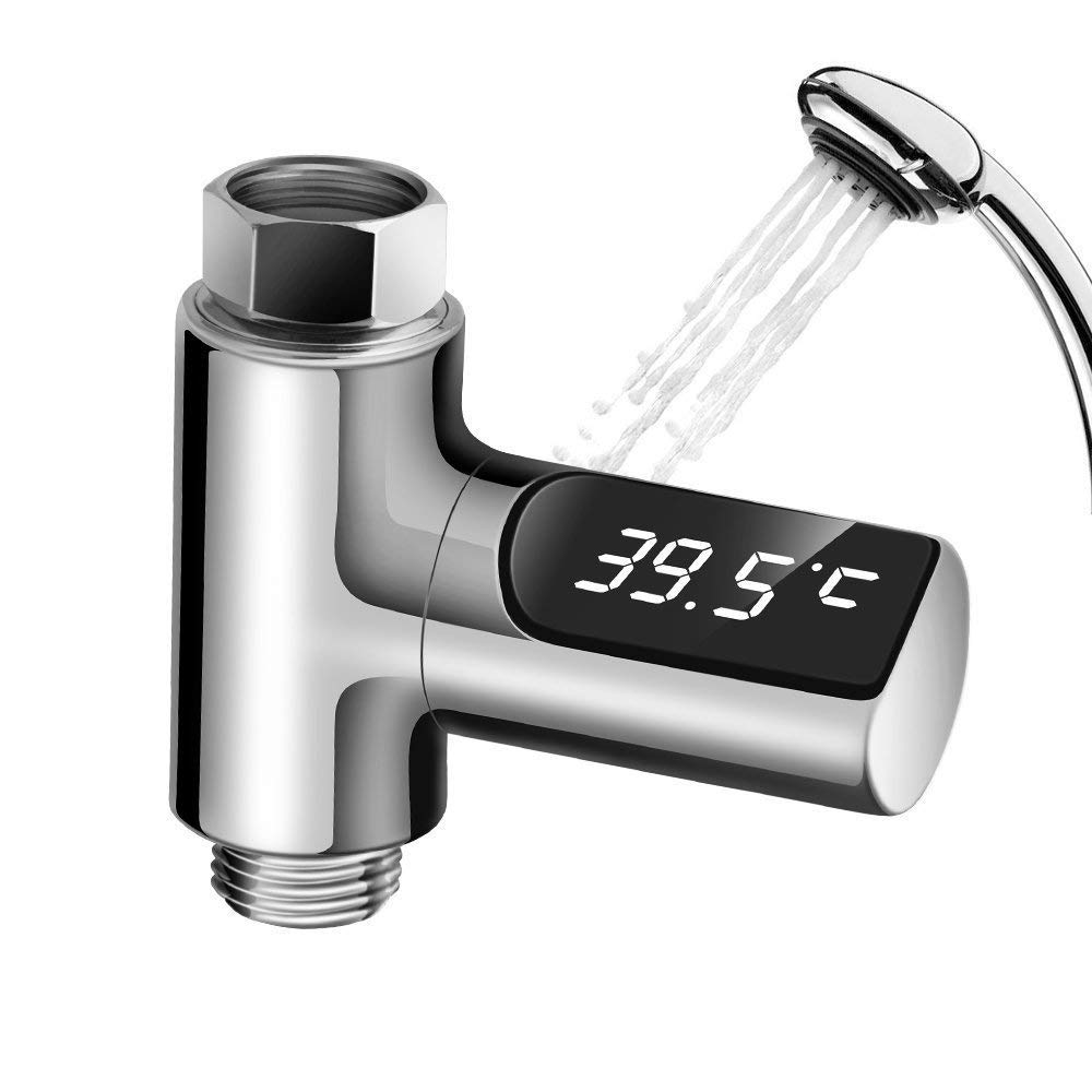 CLE LED Digital Shower and Kitchent Faucet Thermometer, Hydro-Power Real Time Bath Water Temperature Monitor for Kids
