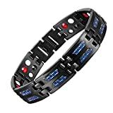 LiFashion LF Mens Pure Titanium Bio Magnetic Therapy Bracelet 4 in 1 Blue Carbon Fiber Inlay Pain Relief Energy Healing Benefits Link Bracelets Black for Dad Husband Boyfriend Gift,Free Removal Tool