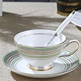 NDHT Pack of 6 Bone China Teacups/Coffee Cups & Saucers Sets with Spoons-6.7Oz, for Home, Restaurants, Display & Holiday Gift,Green,With Bracket(6 Sets)
