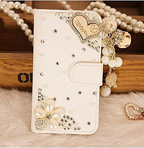 HTC Desire 610 Case, iNenk® PU Leather Purse Case w/Card ID Holder White Luxury 3D Fashion Handmade Glitter Bling Diamond Pearl Flip Crystal Wallet Card Pouch Stand Cover-Wood Love