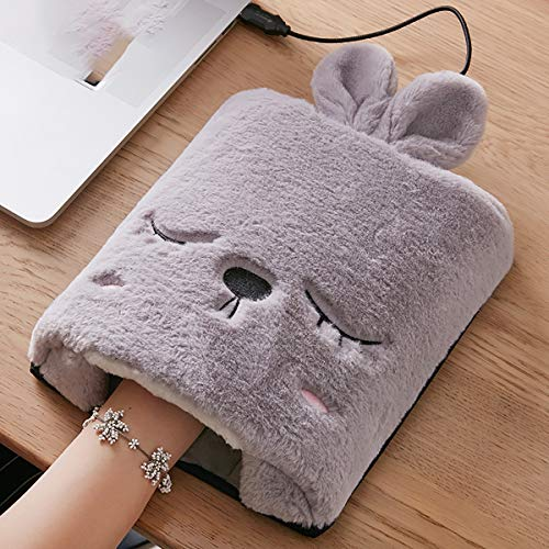 Fad-J Cartoon USB Hand Warmer Fever Mouse pad, Wristband Winter Warm Heating Set, Computer Warmer Small Bunny Style Mouse pad,Gray