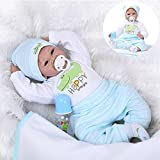 Medylove Lifelike Reborn Baby Doll Boy Realistic Silicone Vinyl 22inch 55cm Handmade Weighted Body Real Looking Light Blue Outfit Cute Doll Eyes Open