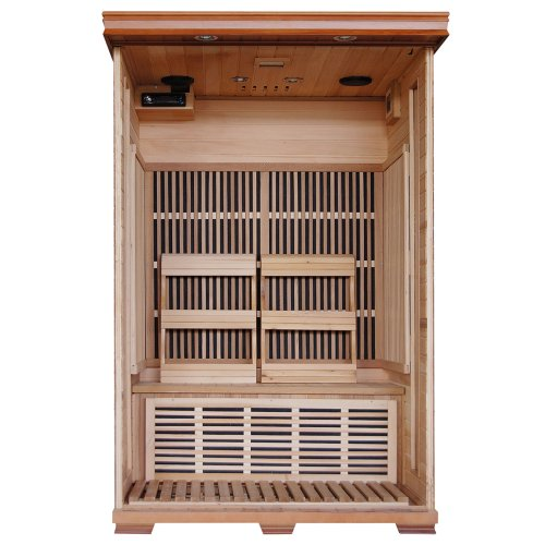 2-Person Cedar Deluxe Infrared Sauna w/ 6 Carbon Heaters
