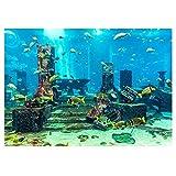 Undersea City Ruins Aquarium Poster, PVC Coral Aquarium Background Underwater Poster Fish Tank Wall Decorations Sticker(6130cm)
