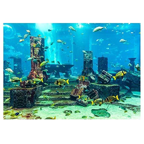 Undersea City Ruins Aquarium Poster, PVC Coral Aquarium Background Underwater Poster Fish Tank Wall Decorations Sticker(6141cm) ()