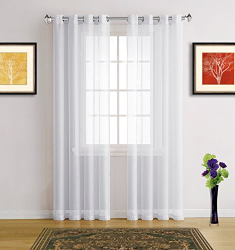 Bone Linen Shade (Warm Home Designs Extra Long Bright White Sheer Window Curtains with Grommet Top for Bedroom, Kitchen, Kids Room or Living Room, 2 Voile Panel Drapes 54-Inch-by-108-Inch - K White 108
