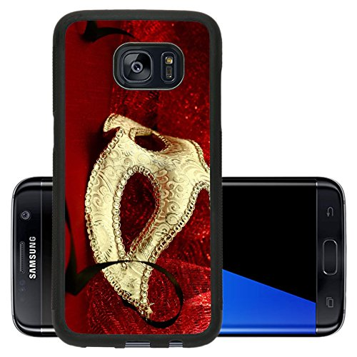 Luxlady Premium Samsung Galaxy S7 Edge Aluminum Backplate Bumper Snap Case IMAGE ID: 34457490 Vintage carnival mask in red (T Mobile Halloween Costume)