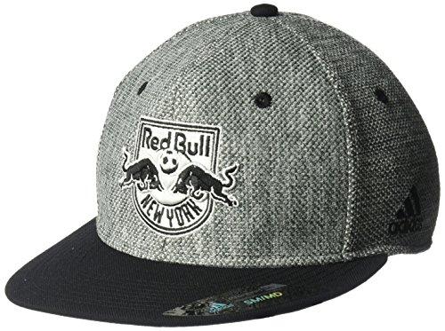 - adidas MLS New York Red Bulls Men's Heathered Gray Fabric Flat Visor Flex Hat, Small/Medium, Gray