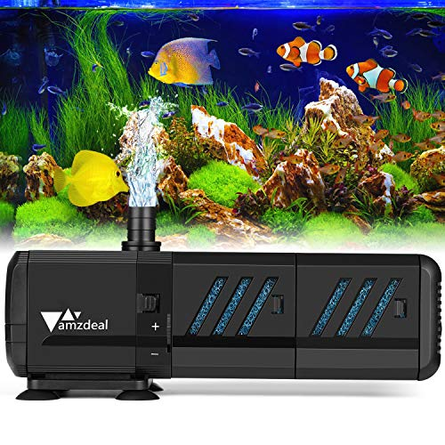 - amzdeal Water Pump Aquarium 400GPH (1500L/H, 15W) Submersible Water Pump with Two Filters Ultra Quiet Water Pump for Aquarium, Fish Tank (200L,>55gallon), Pond, Fountain, Hydroponics