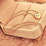 New Womens Pretty Gold Plated Heart Bib Statement Chain Jewelry Pendant Necklace