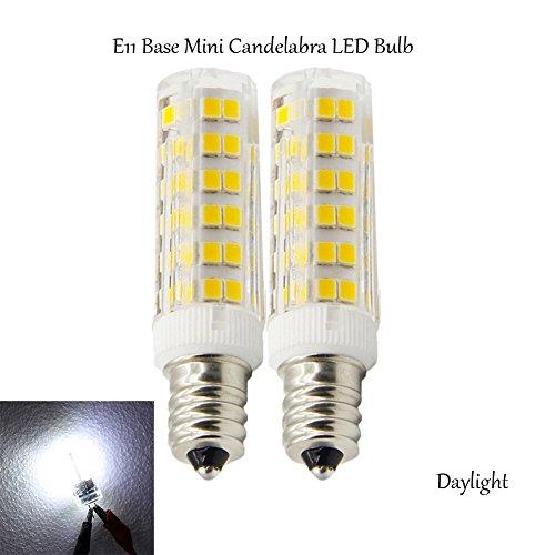 (Pack of 2) E11 Base 50W Light Bulb,Dimmable LED Mini Candelabra Bulb,Daylight,JD T4 bulb,120 volt,550LM,Clear Light Bulb