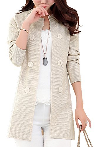 CLJJ7 Women's Loose Open Front Mid-long Knit Cardigan Sweater (Medium, Beige)