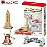 """CubicFun 3D Puzzle C-Serie """"Mini-Arquitectura Seria 3 - 4 Rompecabezas"""""""