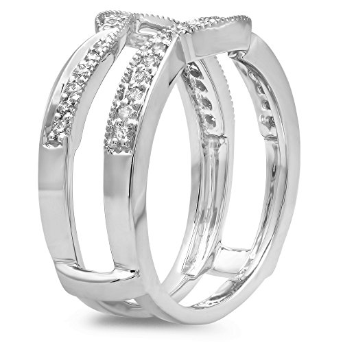 Dazzlingrock Collection 0.34 Carat (ctw) 10K Gold Round Diamond Wedding Band Enhancer Double Guard Ring 1/3 CT