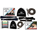 Set of 2 - Smash Speed Strength 80 Lb Resistance Running Training Bungees Band (Waist) & Workout Guide- 4 & 8 Ft - 360° Agility, Fitness Fast- (Speed Bands & 2 Running Bungees)