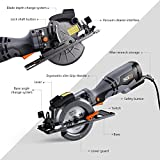 """Tacklife 4-4/5"""" Compact Circular Saw , 5.8A with Laser Guide, 6 Blades, 3500rpm, Single-Hand Operation Design for Wood, Plastic, Metal, Tile -TCS115A"""