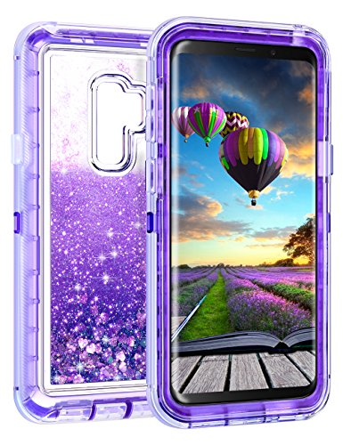 Coolden Case for Galaxy S9 Plus Cases Protective Glitter Case for Women Girls Cute Bling Sparkle Heavy Duty Hard Shell Shockproof TPU Case for 6.2 Inches Samsung Galaxy S9 Plus, Purple ()