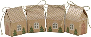 20Pcs Christmas Gift Box, House-Shaped Present Wrapping Case, Kraft Paper Packaging for Candy Cookie Xmas Eve Apple Cute Party Favor Holiday Supply Cardboard Cupcake Bin Ornament