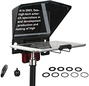 Desview T2 Portable Teleprompter Kit with Remote Control for Smartphone iPad Mini Canon Nikon Sony DSLR Camera for YouTube Interview Video