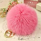 Cy3Lf Gold Plated Rabbit Fur Ball Pom Pom Keychain, Pink