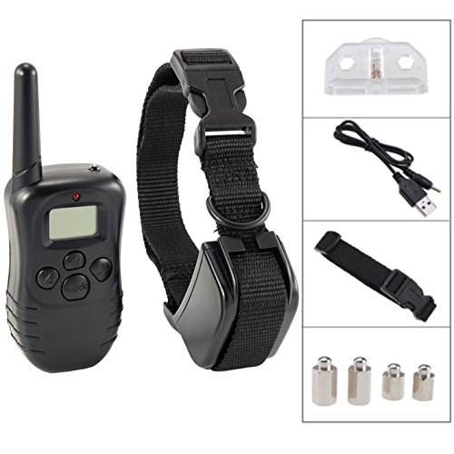 iMeshbeanWaterproof Rechargeable LCD Shock Control Pet Dog Training Collar with 100 Level of Vibration + 100 Level of Static Shock