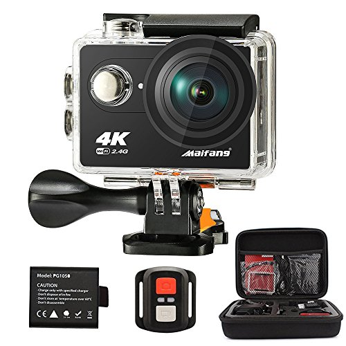 Maifang-Sports-Camera-Waterproof-4K-WIFI-Action-Camera-With-Remote-20-Inch-LTPS-Screen-1080P-60FPS-12MP-Action-Cam-170-Degree-Fish-eye-Lens-With-2-batteries-Camera-BagBlack