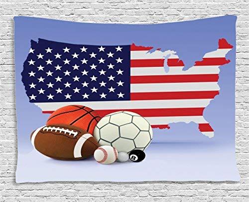 Americana Tapiz Decoración de Pared Americana Mapa y Bolas de ...