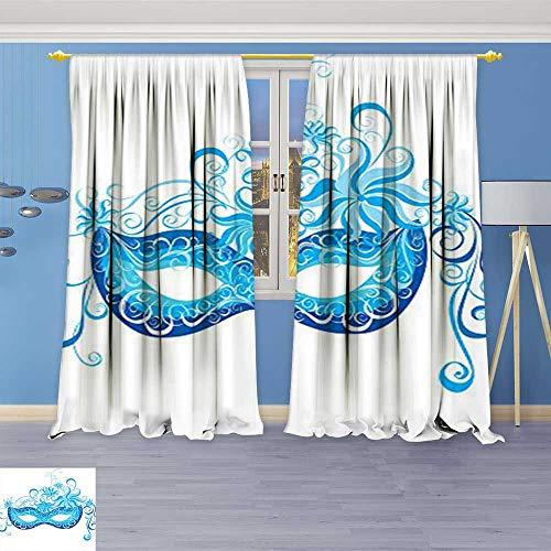 Philiphome Blackout Room Darkening Curtains Venetian Mask Majestic Impersonating Enjoying Halloween Theme Image Print Navy Blue Window Panel Drapes Grommet Top