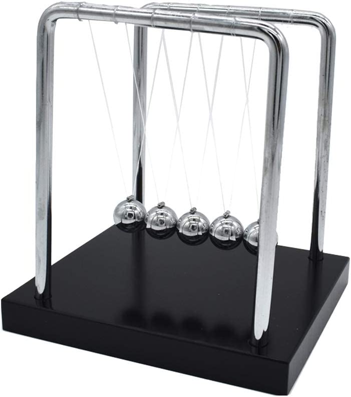 Renashed Newton's Cradle Balance Balls with Wooden Base Metal Swing Ball Desk Decoration