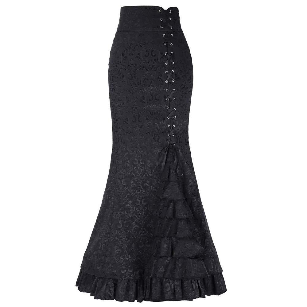 Ximandi Ladies Womens Punk Style Retro Mermaid Skirt Vintage Long Bodycon Ruffle Fishtail Skirt