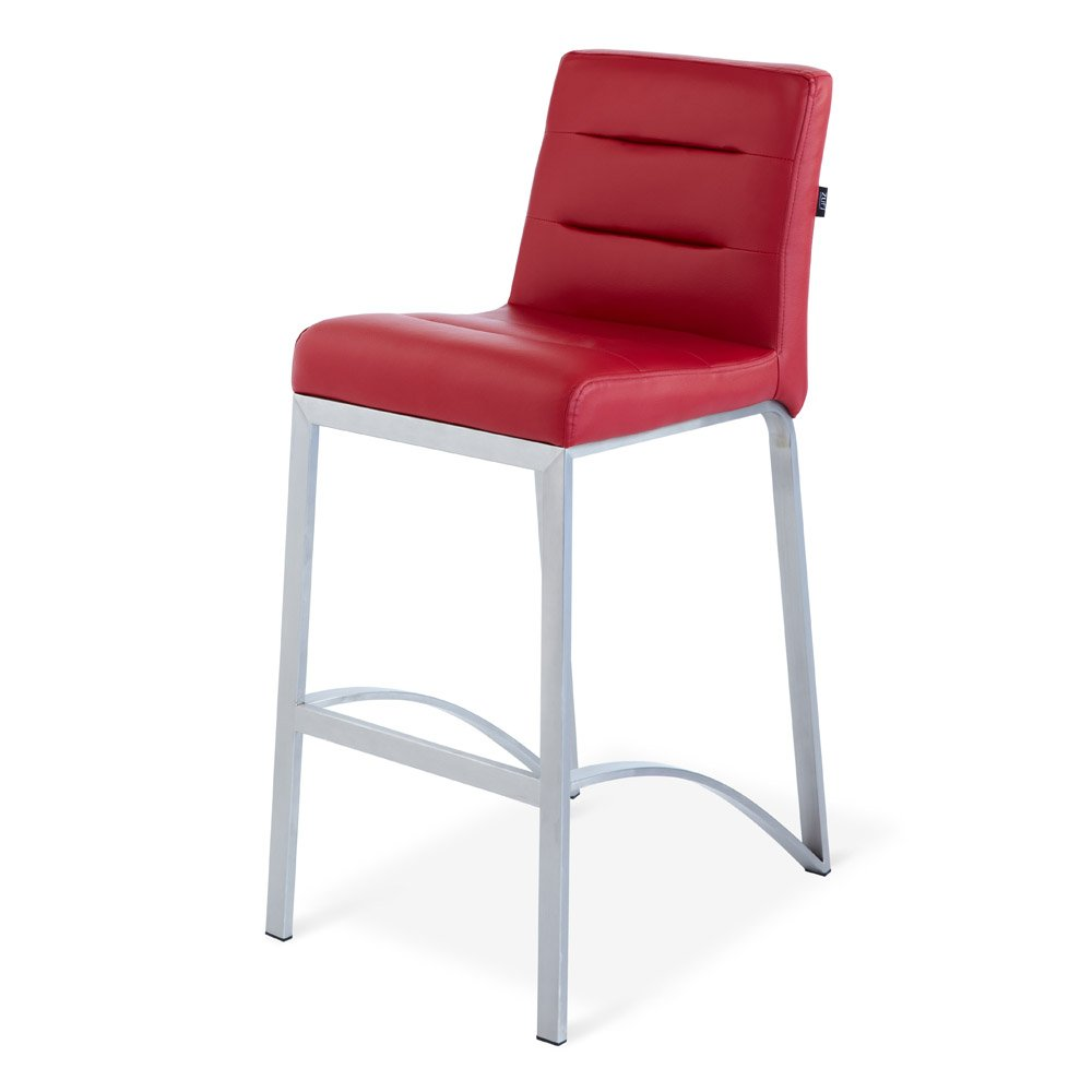 Zuri Furniture Lynx Counter Height Contemporary Bar Stool with Metal Base - Red