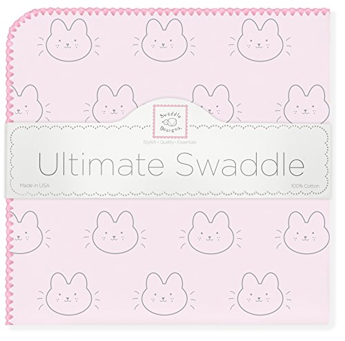 (SwaddleDesigns Ultimate Swaddle, X-Large Receiving Blanket, Made in USA Premium Cotton Flannel, Baby Bunnie with Pink Trim (Mom's Choice Award Winner))