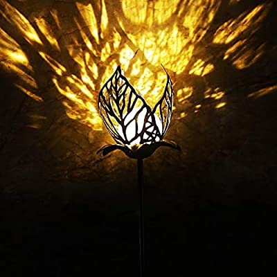 PerfectSolar Flower Solar Garden Decorative Lights Outdoor 3D Metal Pathway Stake Lights Waterproof LED 2pcs Warm White for Yard Art Walkway Patio Lawn : Garden & Outdoor