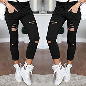 21af2103f Image Unavailable. Image not available for. Color: TreeMart New Skinny  Jeans Women Denim Pants Holes Destroyed Knee Pencil Pants Casual Trousers  Black White