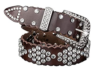 Corlink Rhinestone Jeweled Studded Western Cowgirl Cow skin Belt