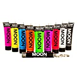 Moon Glow - Intense Neon UV Face & Body Paint - 12ml / 0.42oz Set of 9 - includes UV Keyring