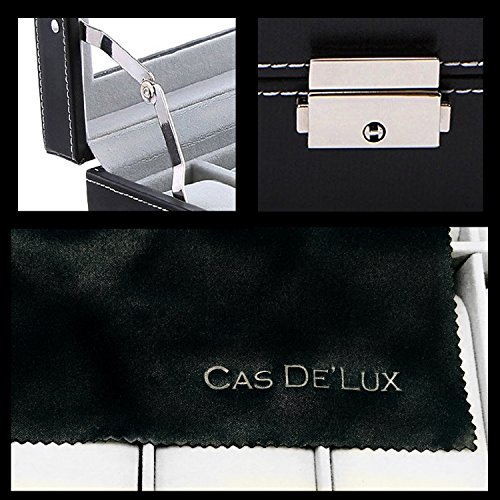 Watch Box Organizer Pillow Case - 20 Slot Luxury Premium Display Cases With Framed Glass Lid Elegant Contrast Stitching Sturdy & Secure Lock for Men and Women Watch & Jewelry Large Holder Boxes Gift by Cas De' Lux (Image #4)