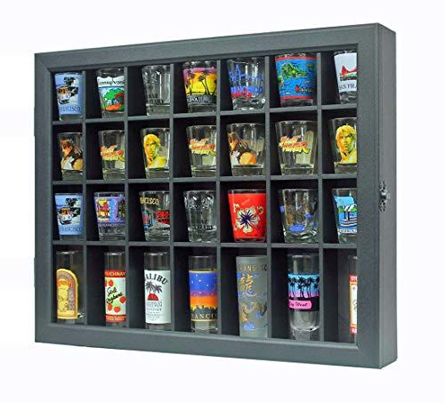 Shot Glass Display Case Shadow Box Cabinet Display Stand (Black) (Shot Glass Display Case Black)
